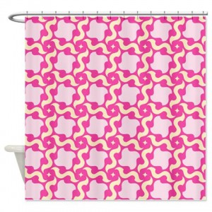 Pink and Beige Pattern Shower Curtain