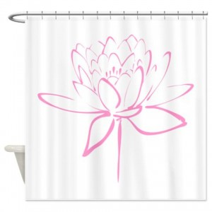Lotus Calligraphy Print-Pink Shower Curtain