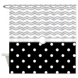 polkadot black grey white zigzag Shower Curtain