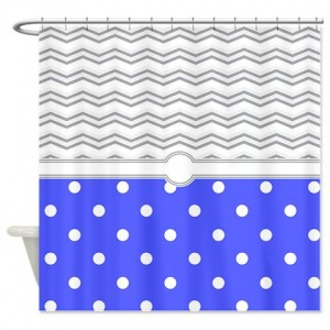 polkadot blue grey white zigzag Shower Curtain