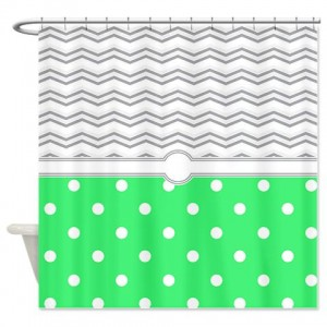 polkadot green grey white zigzag Shower Curtain