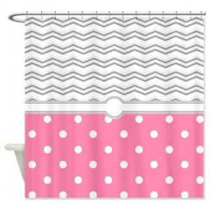 polkadot pink grey white zigzag Shower Curtain
