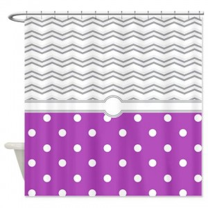 polkadot purple grey white zigzag Shower Curtain