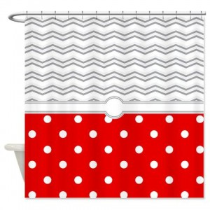 polkadot red grey white zigzag Shower Curtain