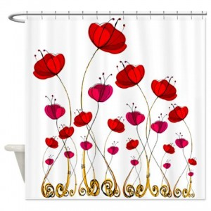 Poppy Doodle 1 Shower Curtain