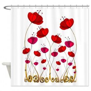 Poppy Doodle 2 Shower Curtain