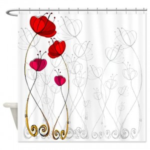 Poppy Doodle 3 Shower Curtain