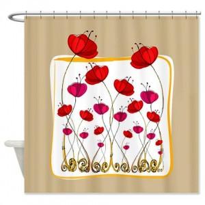 Poppy Doodle 6 Shower Curtain