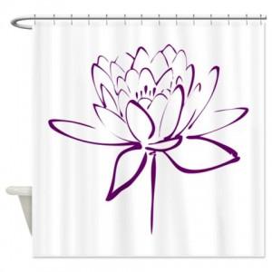 Lotus Calligraphy Print-Purple2 Shower Curtain