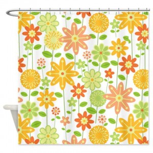 Retro 1960s Flower Power Print Shower Curtain