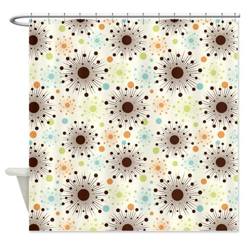 Retro Starbursts Shower Curtain