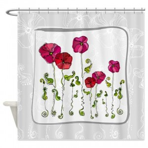 Rose Doodle 11 Shower Curtain