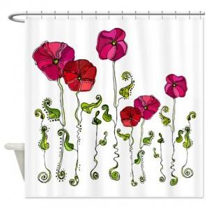 Rose Doodle 1 Shower Curtain