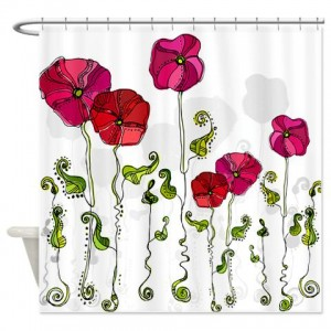 Rose Doodle 4 Shower Curtain