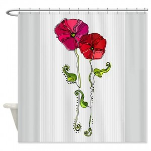 Rose Doodle 8 Shower Curtain