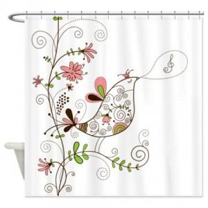 Singing Floral Bird Shower Curtain