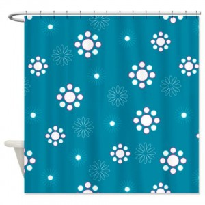 Teal Blue And White Flower Pattern Shower Curtain