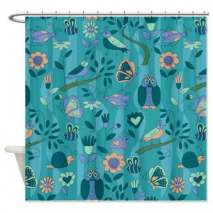 teal owl and bird pattern Shower Curtain