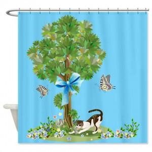 Tree Kitty Shower Curtain