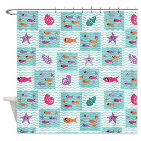 Wave, Fish And Seashell Pattern Shower Curtain