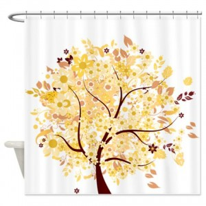 Whimsical Early Autumn Floral Tree Shower Curtain