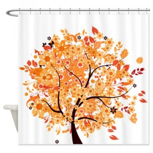 Orange Floral Shower Curtain. Whimsical Late Autumn Floral Tree Shower Curtain Makanahele com  Category Curtains By Theme Page 7
