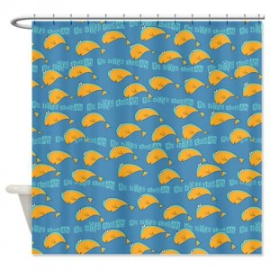 Whimsical No Fish Today Pattern Shower Curtain