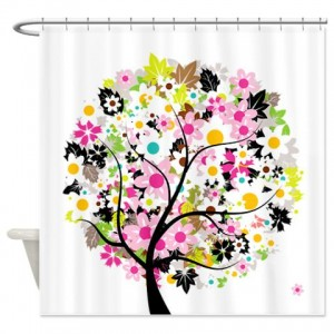 Whimsical Pinks Flower Tree Shower Curtain