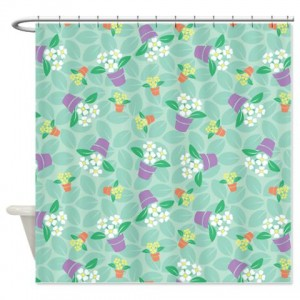 Whimsical Potted Flowers Shower Curtain