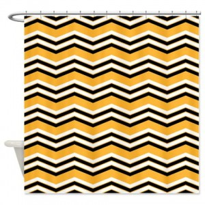 zigzag 2a orange Shower Curtain