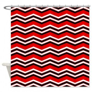 zigzag 2a red Shower Curtain