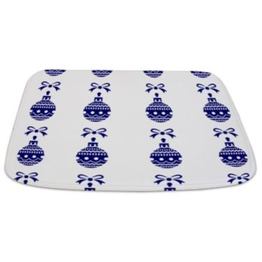 Christmas Ornament (Blue and White) Bathmat