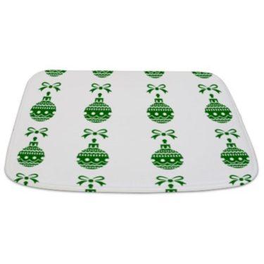Christmas Ornament (Green and White) Bathmat