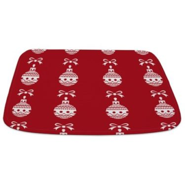 Christmas Ornament (Red and White) Bathmat