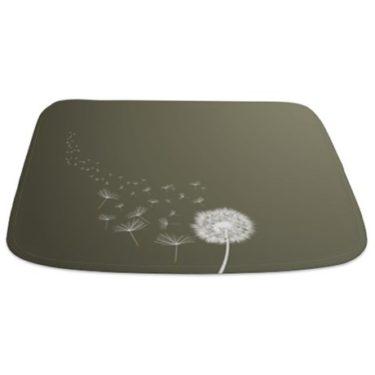 Dandelions (Grey Small) Bathmat