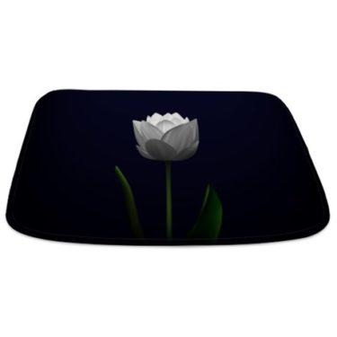 Dark Navy Lotus Blossom Bathmat