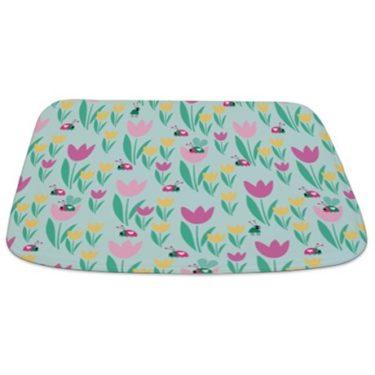 Floral Love Bug Pattern Bathmat