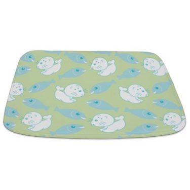Funny seals and fish design Bathmat