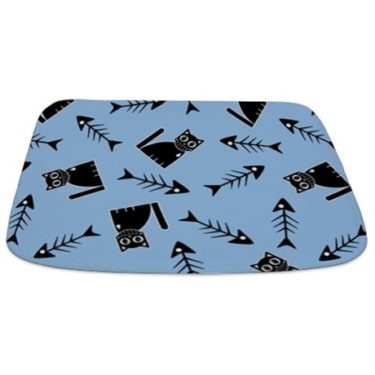 Funny stylized cat and fish bone pattern Bathmat
