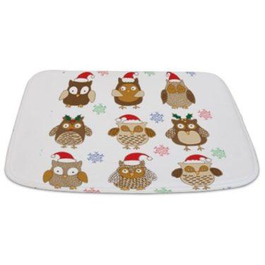 Merry Christmas Owls 2 Bathmat
