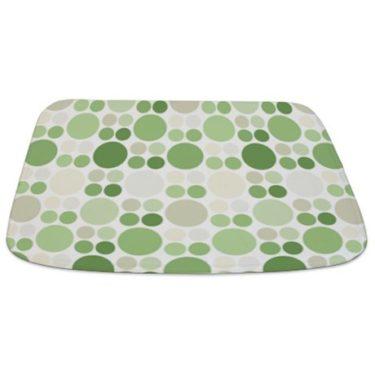 Modern Green Polka Dot Pattern Bathmat