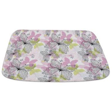 Pink and Green Butterflies Bathmat