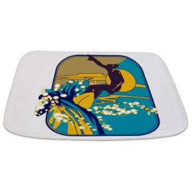 Retro Surfer in the Sun Bathmat