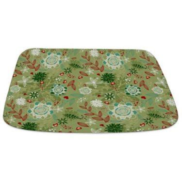 Sage Green Floral Print Bathmat