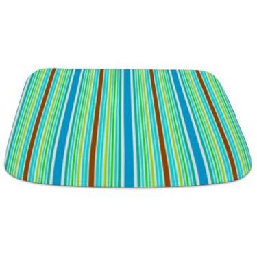 Stripes Blue Green Brown Bathmat