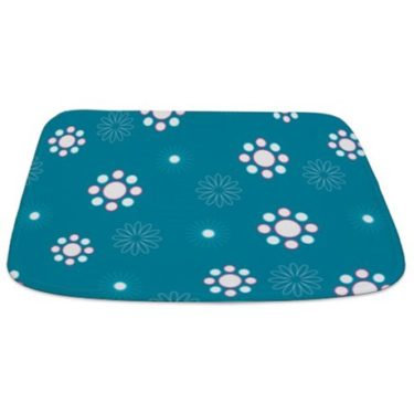 Teal Blue and White Floral Pattern Bathmat