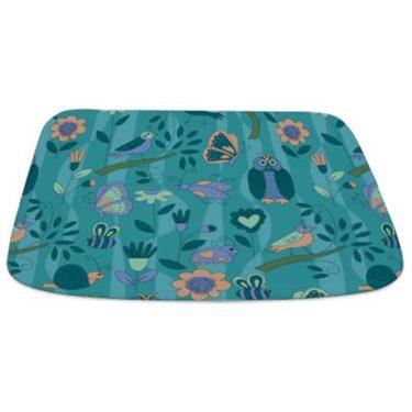 teal owl and bird pattern Bathmat