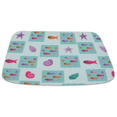 Wave, Fish and Seashell pattern Bathmat