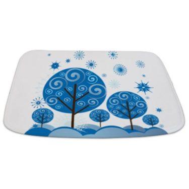 Whimsical Blue Tree 11 Bathmat
