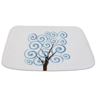 Whimsical Blue Tree 13 Bathmat